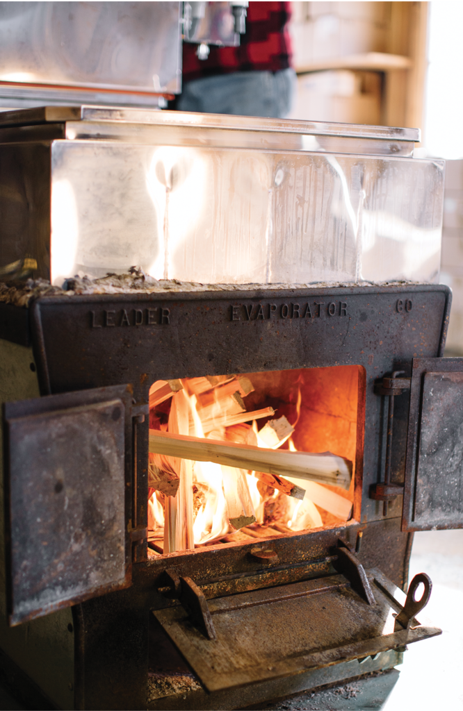 Long hours are spent boiling the sap down into syrup for bottling.