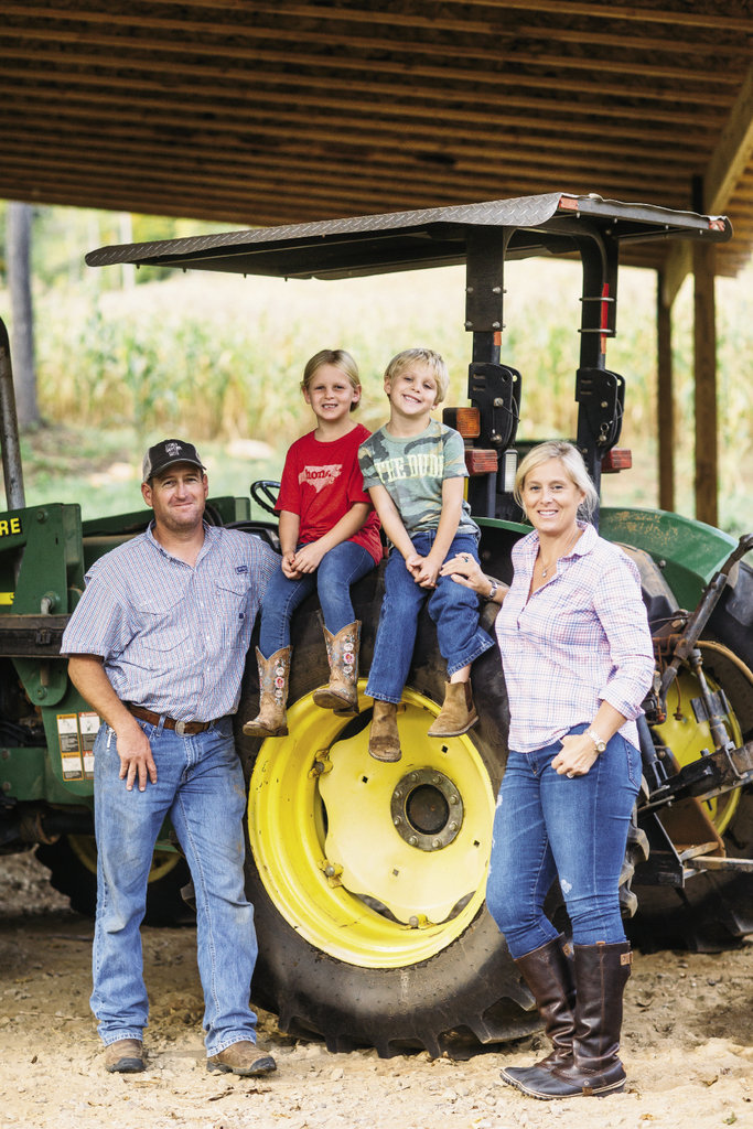 For the Barkleys, running the farm and making grits is a family affair, with all three of Jim Barkley's daughters, their spouses, and children pitching in to help during the harvest. Left, farm manager Micah Stowe with his wife Auburn (one of Jim's daughters) and their two children, Olivia (center left) and Barrett
