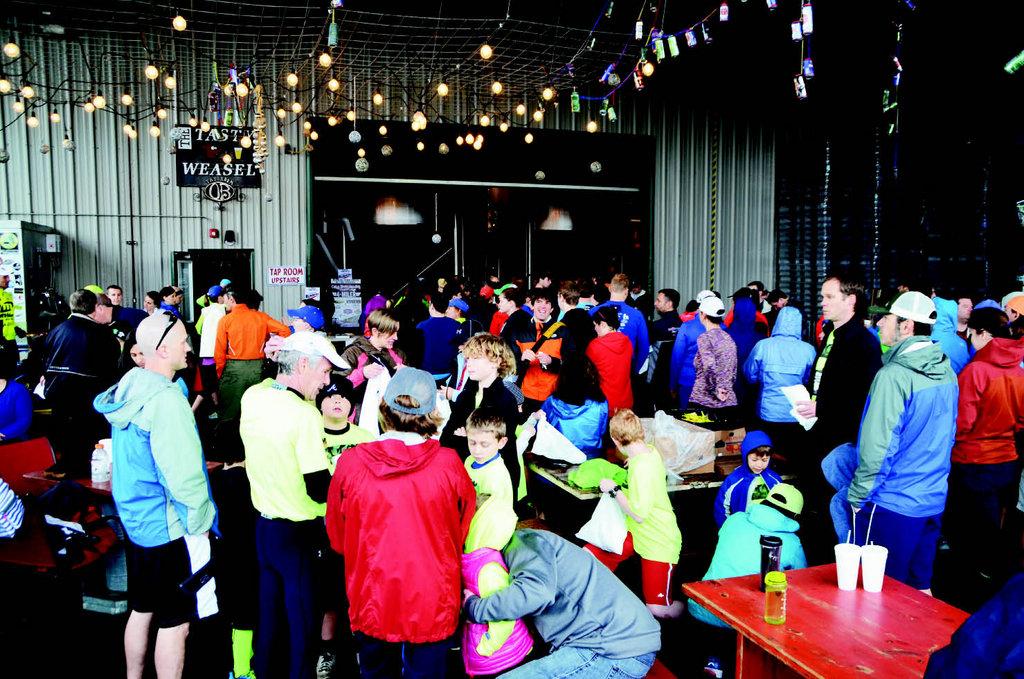 Runners enjoyed post-race festivities at Oskar Blues Brewery in Brevard.