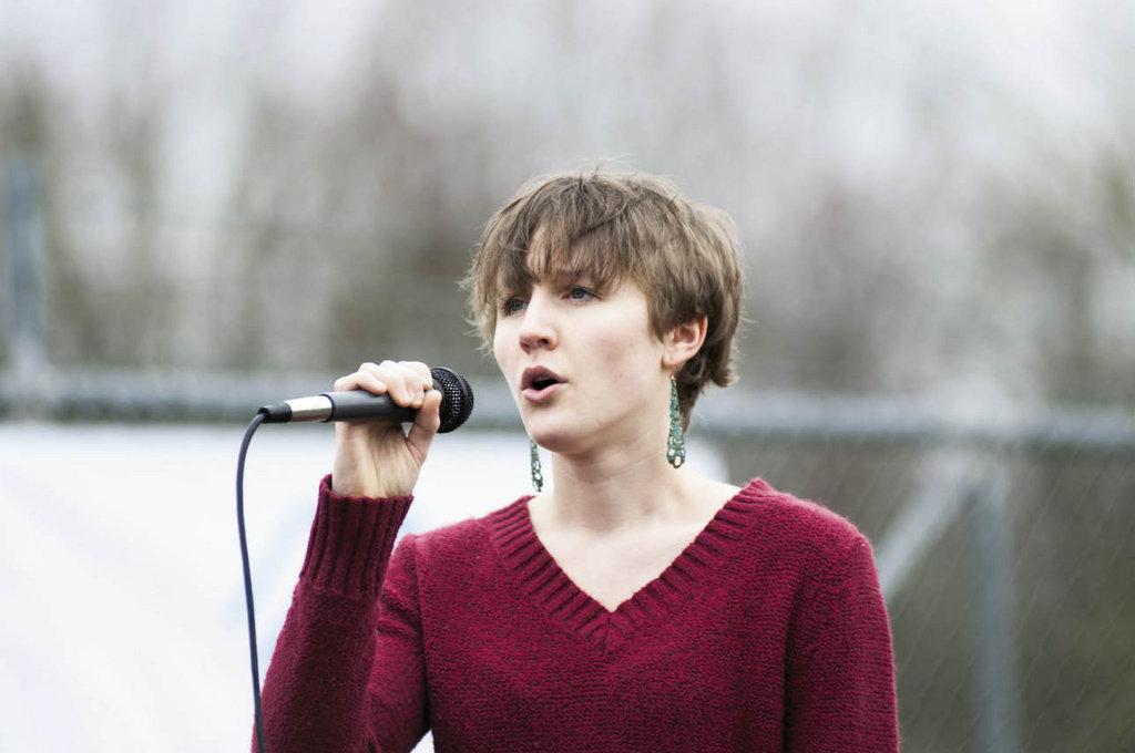Brevard High School student Madeline Lefler sang the national anthem.
