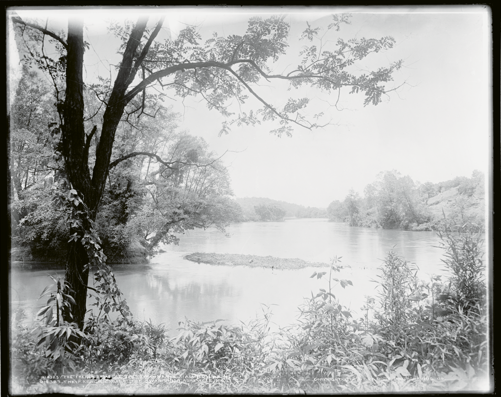 A 1902 photograph of where the Swannanoa River enters the French Broad in Asheville
