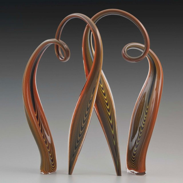 "Bowing Series, Chocolate Sand Red, blown glass, 28"" tall By Greg Fidler, Bakersville"