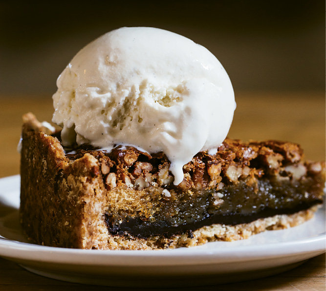 For dessert, the chocolate pecan pie is a crowd favorite.