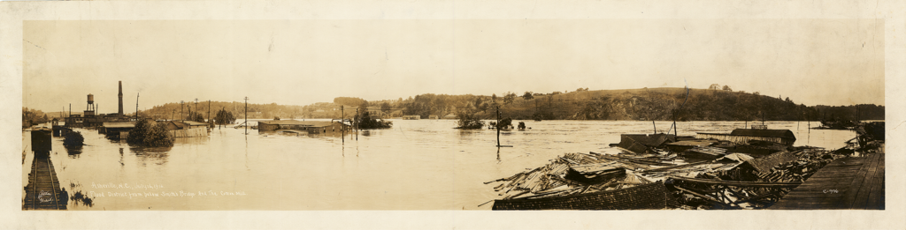 The Great Flood of 1916 destroyed much of the industrial and transportation infrastructure surrounding the French Broad.