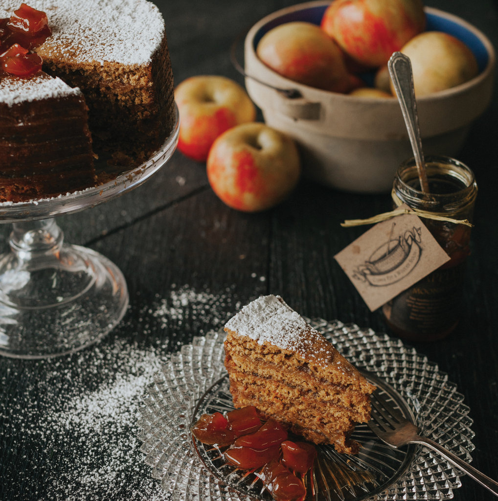 Apple Pie Moonshine Jam, made and sold by Copper Pot & Wooden Spoon, is a key ingredient in this Harvest Spice Apple Stack Cake.
