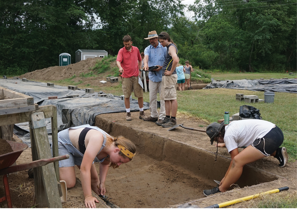 Archaeology students excavating at the Berry Site in Morganton