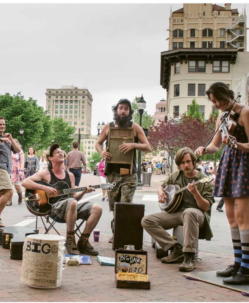 15. Ubiquitous and talented street performers, also known as buskers, sing out from downtown street corners and doorways
