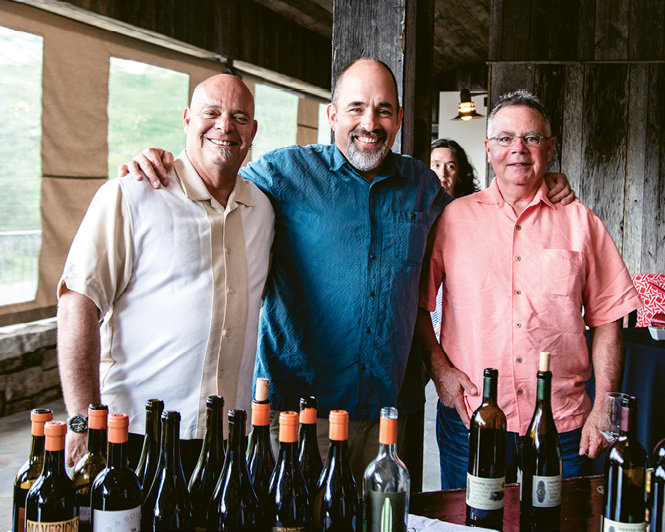 Winemakers Oded Shakked (Longboard Wines), Scot Covington (Trione), and Mike Miller (Grapevine Distributing)