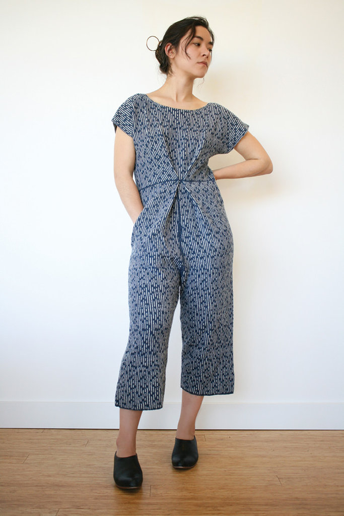 Traditional Japanese sashiko stitching influenced the fabric for this jumpsuit.