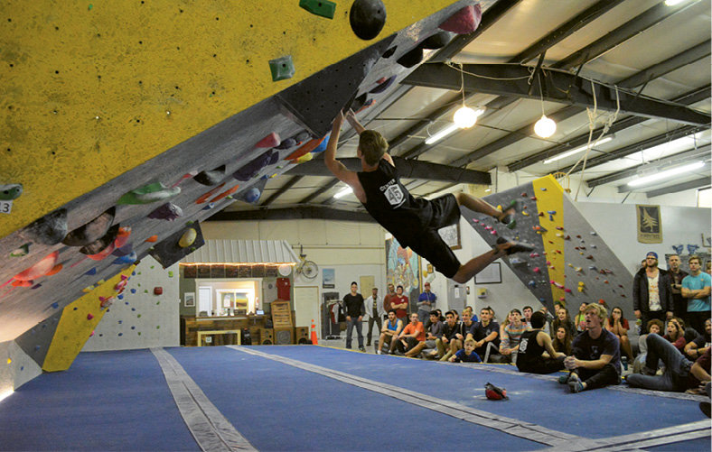 Climbing gyms, such as Smoky Mountain Adventure Center in Asheville and Center 45 in Boone (shown), provide opportunities to build both strength and stamina.