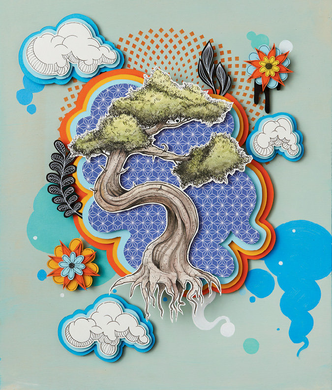 Johansen's multimedia process involves cut paper, acrylics, and pen and ink. Pictured - Bonsai