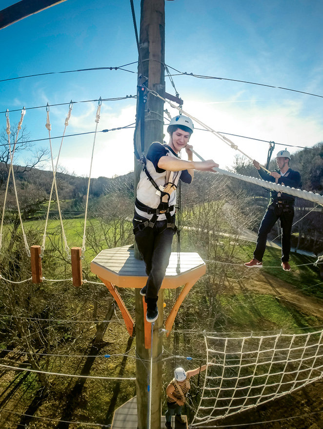 Sky High: Ages four and up can take on obstacles and great heights on two distinct courses at High Gravity Adventures. There's also a three-person giant swing and a ground course akin to that on American Ninja Warrior.