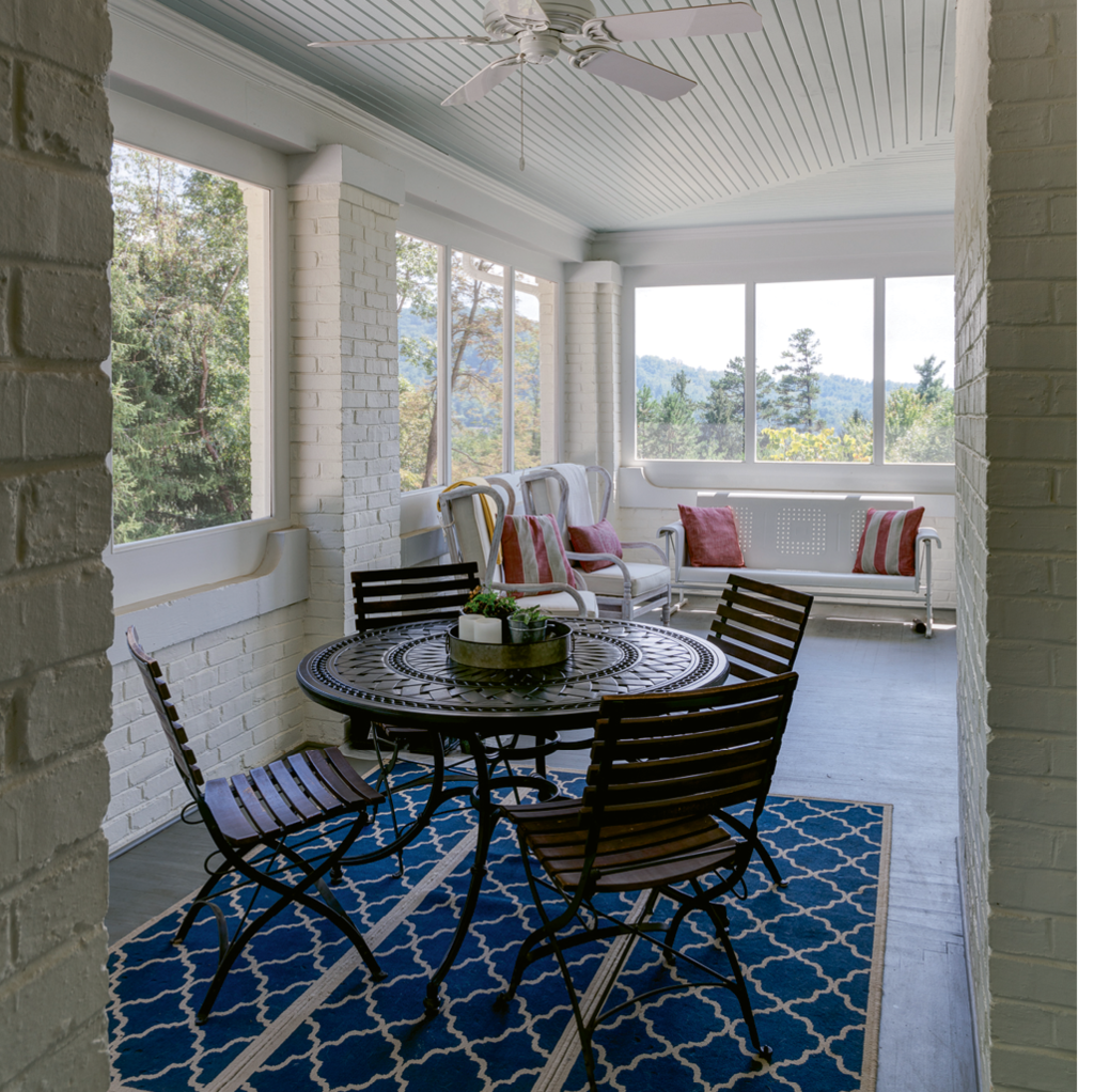 A screened-in porch is a breezy gathering place.