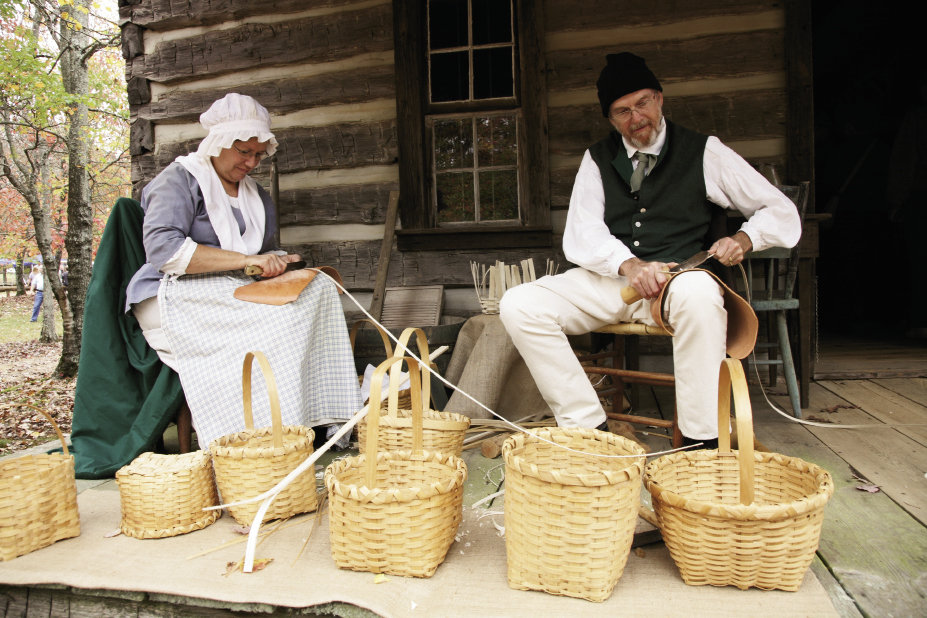 Hundreds of volunteers staff the festival as crafters, reenactors, and docents, sharing cultural practices from the 1700s and 1800s such as basketmaking and boiling peanuts.
