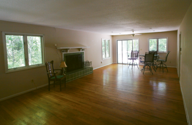 Before shot of the dining and living room