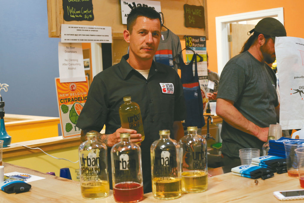 Jeff Anderson with Urban Orchard offered pours of their hard ciders.