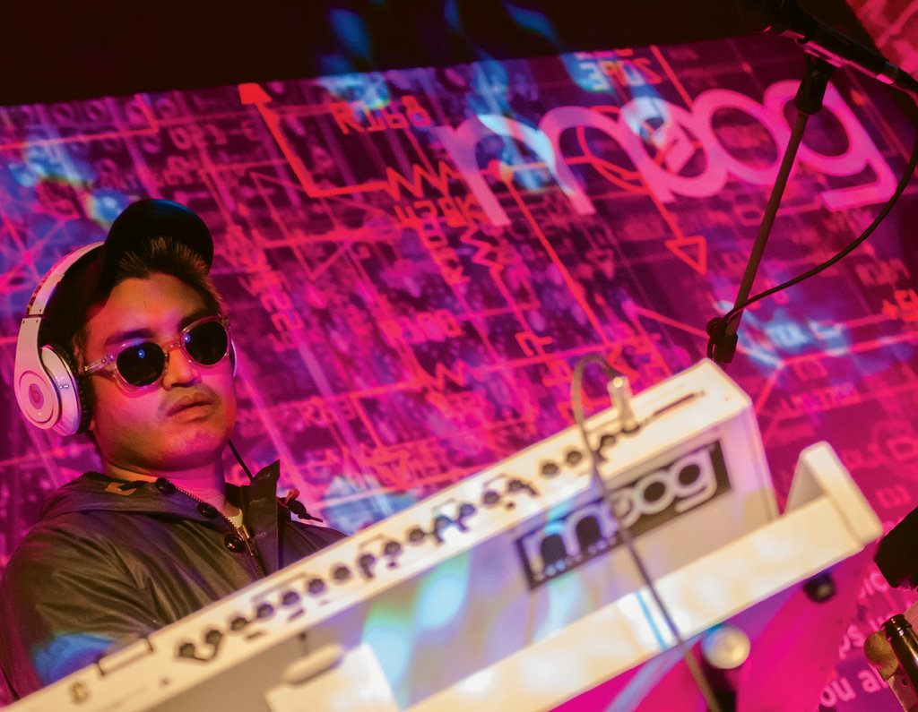 3. Chad Hugo of electronic duo MSSL CMMND, performing at Moog Music factory during Moogfest 2012