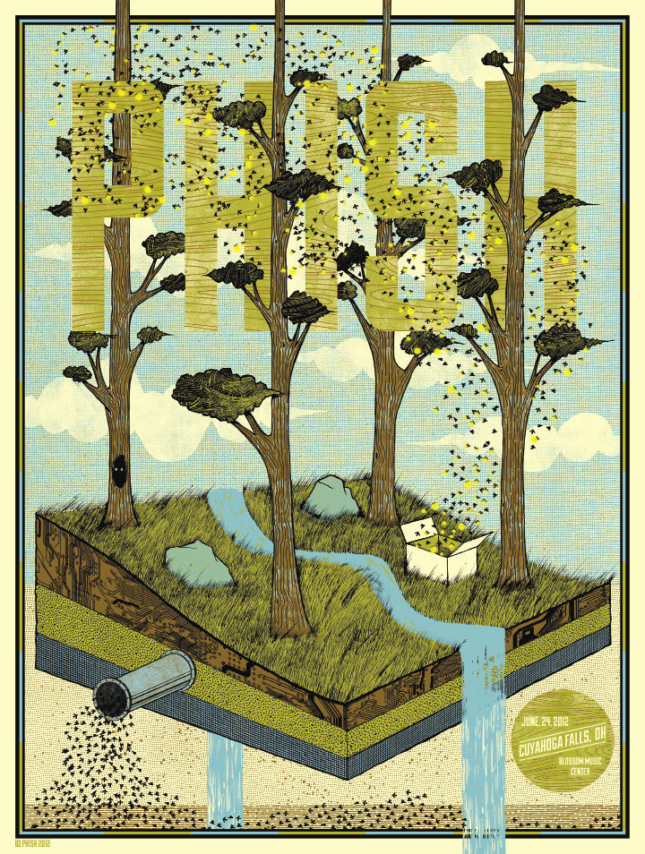 Findley was commissioned to create this concert poster for Phish earlier this year. Courtesy of Drew Findley