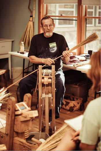 Broom making instructor Glen McLean
