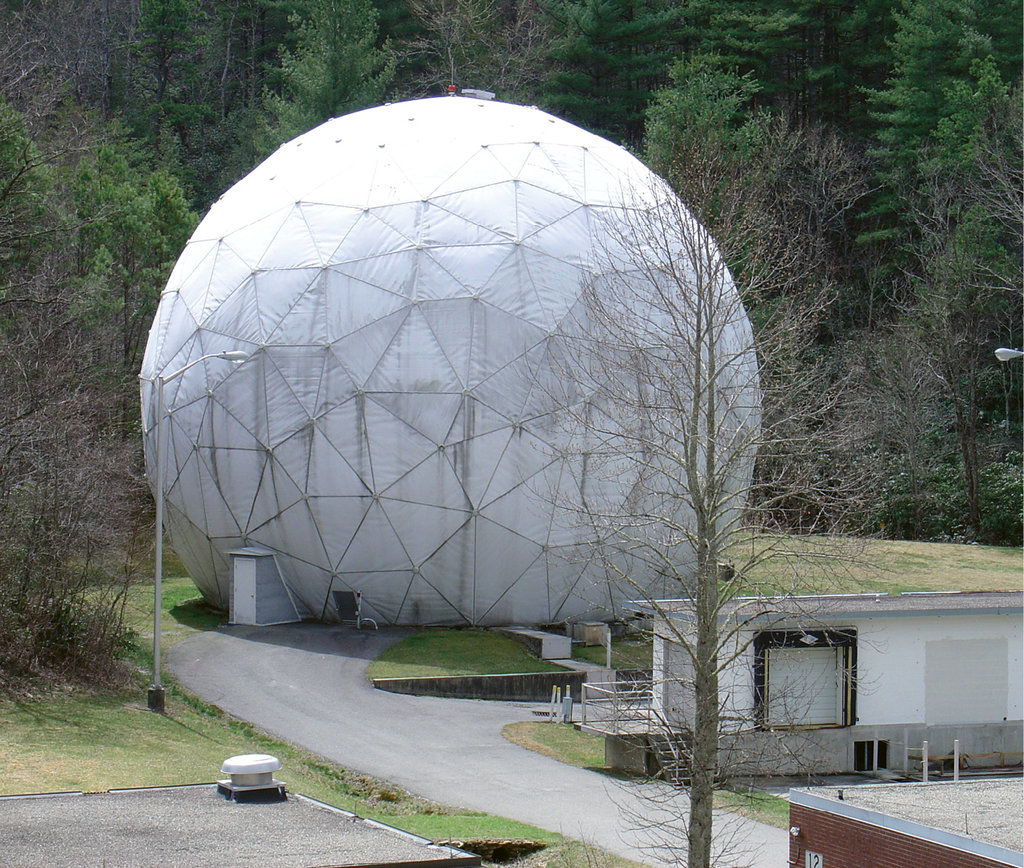 Some of the most sensitive spy equipment at the station was shielded from disclosure by giant radomes like this one.
