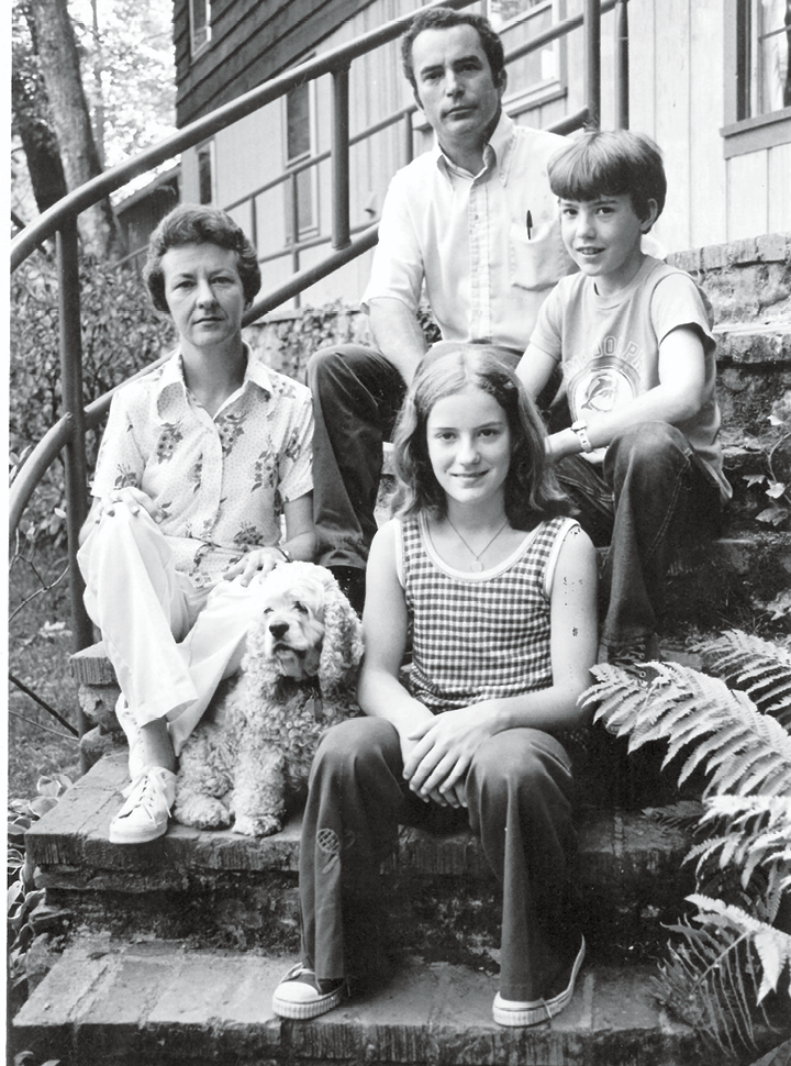 Tight-knit Team: Lemel, her brother, Bradley, and parents, Sue and Bill Ives, circa 1974. Her father moved them to the camp in 1966.  He later served as Transylvania County commissioner and a State House representative.