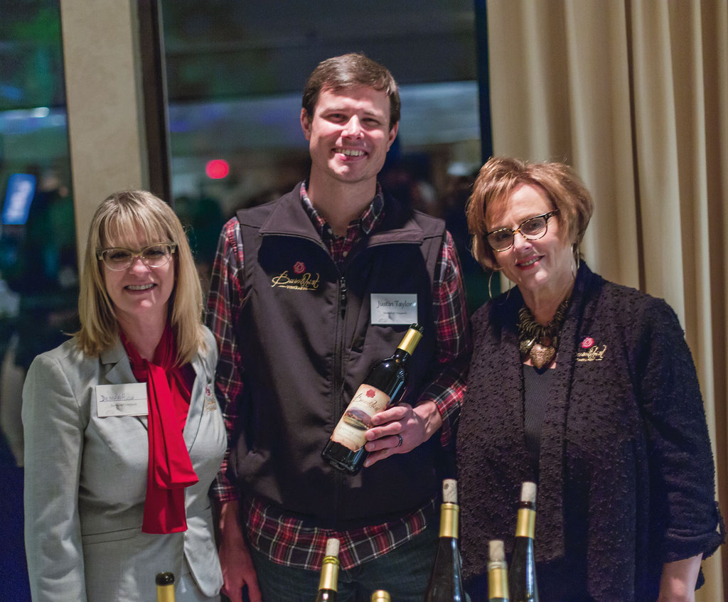 Deborah Rush, Justin Taylor, and  Paula Flowers from Burntshirt Vineyards