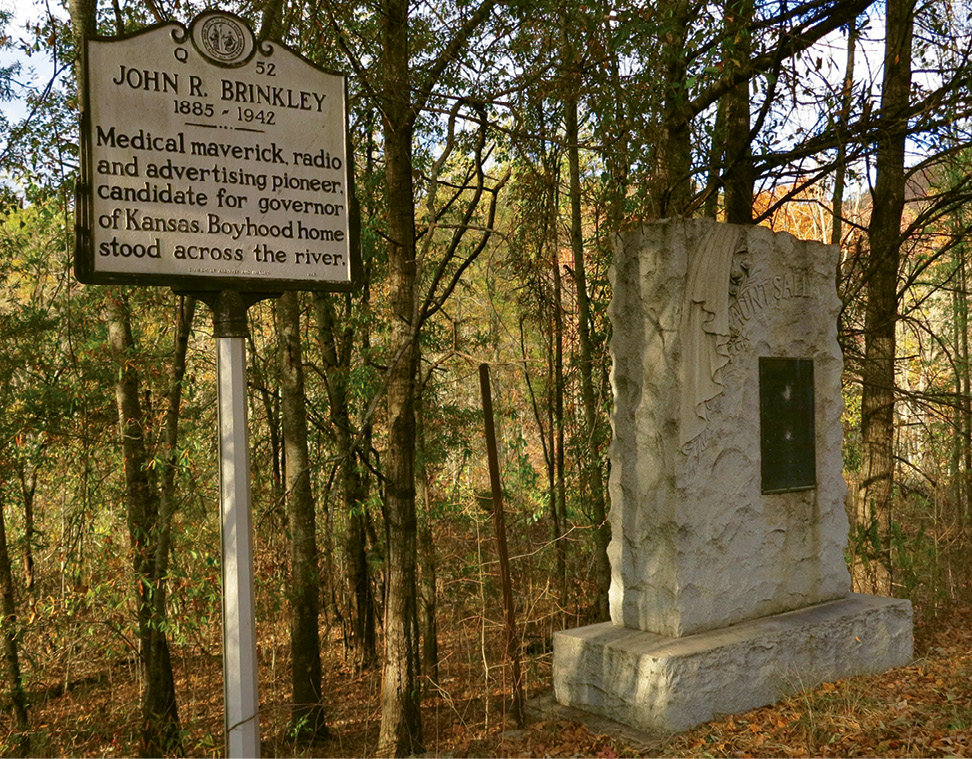 Brinkley is regarded as little more than a curiosity in Jackson County, but his legacy is marked alongside state road 107. A state historical marker was installed in 1994 next to a granite monument Brinkley erected in tribute to his Aunt Sally, who raised him.