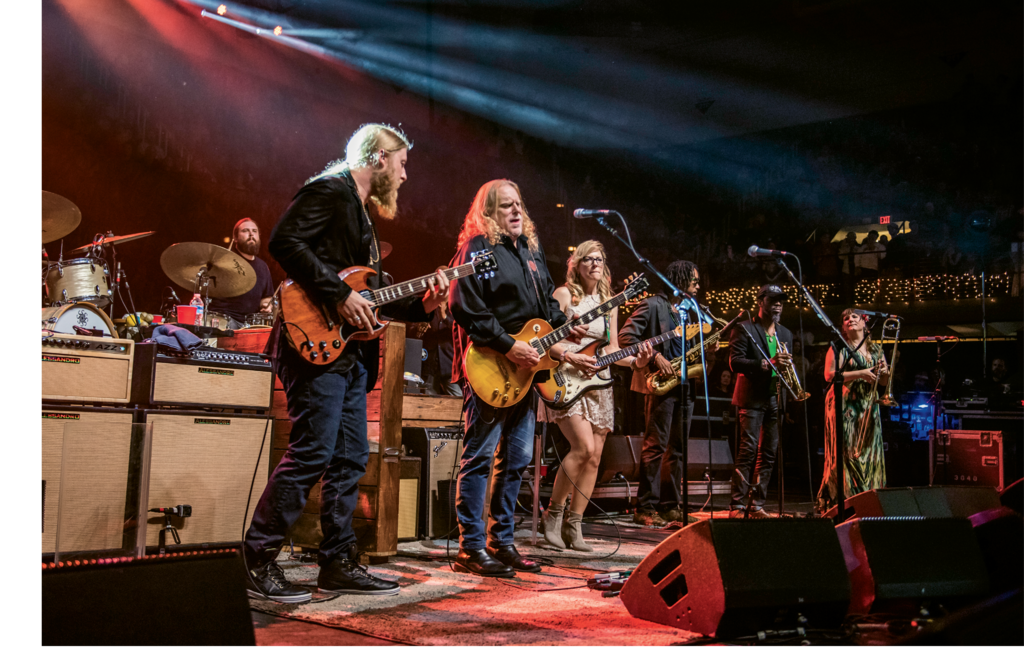 Tedeschi Trucks Band, featuring Derek Trucks (left) and wife Susan Tedeschi (right) joined Haynes on stage during the 2015 Christmas Jam.
