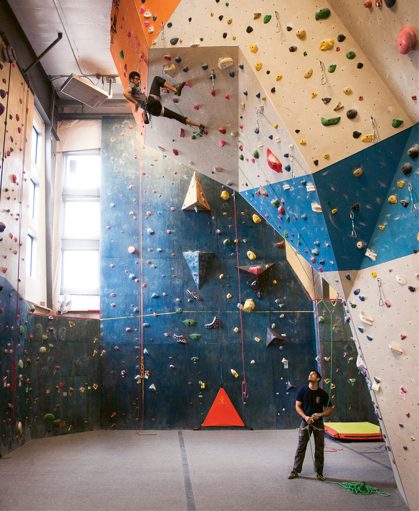 Climbing gyms, such as Smoky Mountain Adventure Center in Asheville (shown) and Center 45 in Boone, provide opportunities to build both strength and stamina.