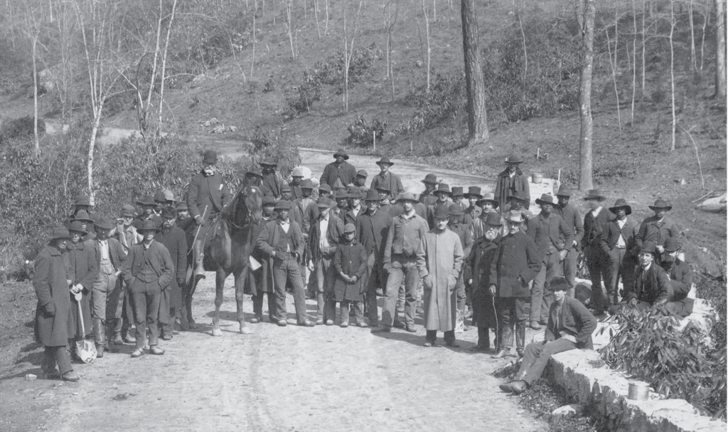 Top, the poor initial state of the land can be seen in this photo of a work crew, with Olmsted, front right in a bowler hat, standing next to Vanderbilt, with cane.