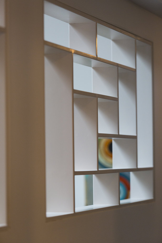 A wall cubby adds looks like a work of art.