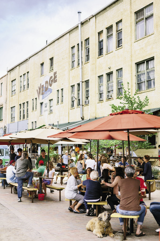 The Wedge Brewing Company, which opened in Asheville's River Arts  District in 2008, is as popular for its expansive outdoor patio as it is for its beers. At present, there are eight original brews on tap, including the varieties shown opposite.