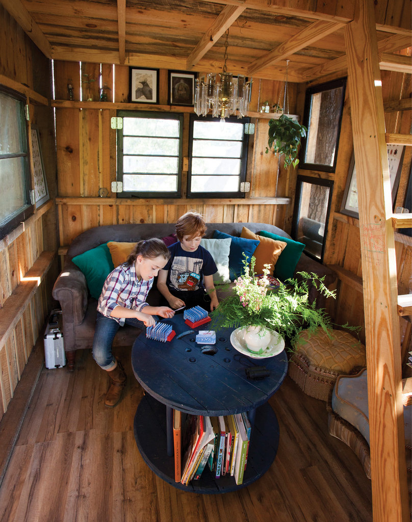 In the tree house, Annabelle and best friend Jackson can play games or relax with a book in the loft, surrounded by stained glass and diamond-style windows.