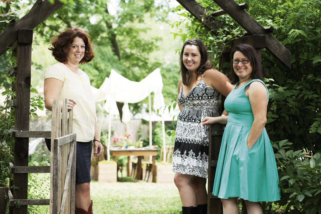 Colorful Palate co-owners Tara Letts (left) and Ragan Lewis (center) with Melissa Thomas of Flora boutique.