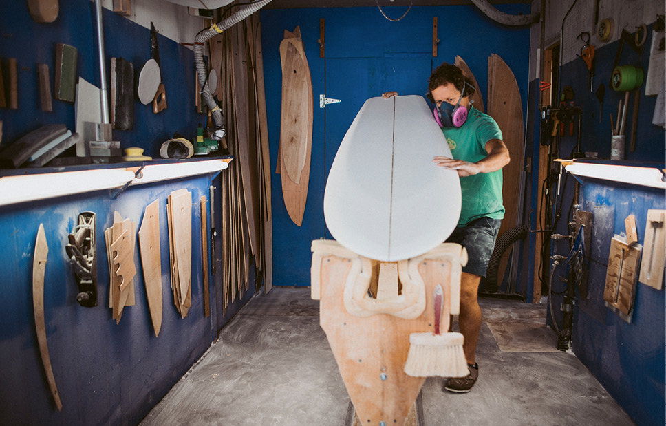 Pressly shapes a board, which is made of polyurethane foam so that it is light and buoyant.