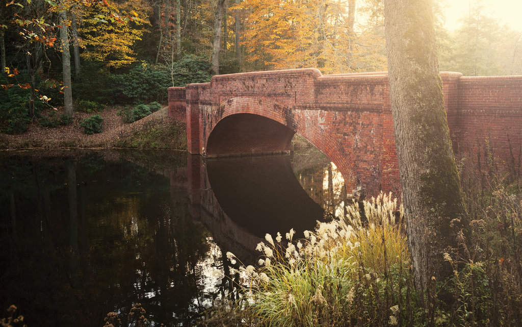 Olmsted's road plans incorporated several bridges, including this iconic brick one over the Bass Pond.