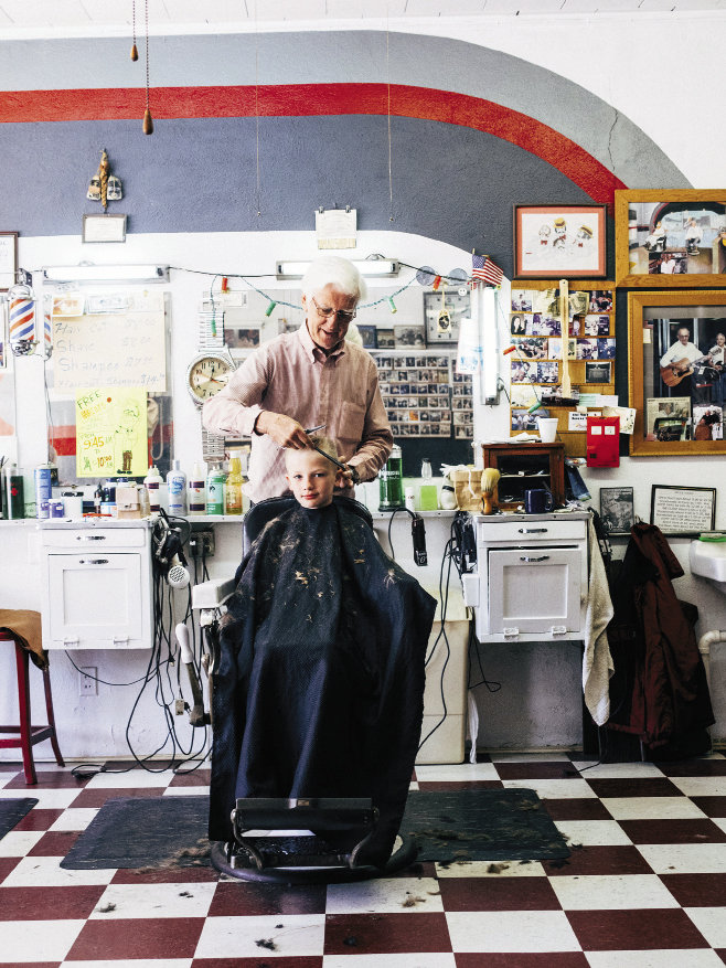 "Pickin' & Trimmin': Open since 1949, the Drexel Barber Shop hosts informal jam sessions in the ""Back Room."""