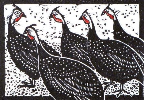 "Nancy Darrell, Marshall, Five Guineas, Linocut with watercolor, 5"" x 7"""