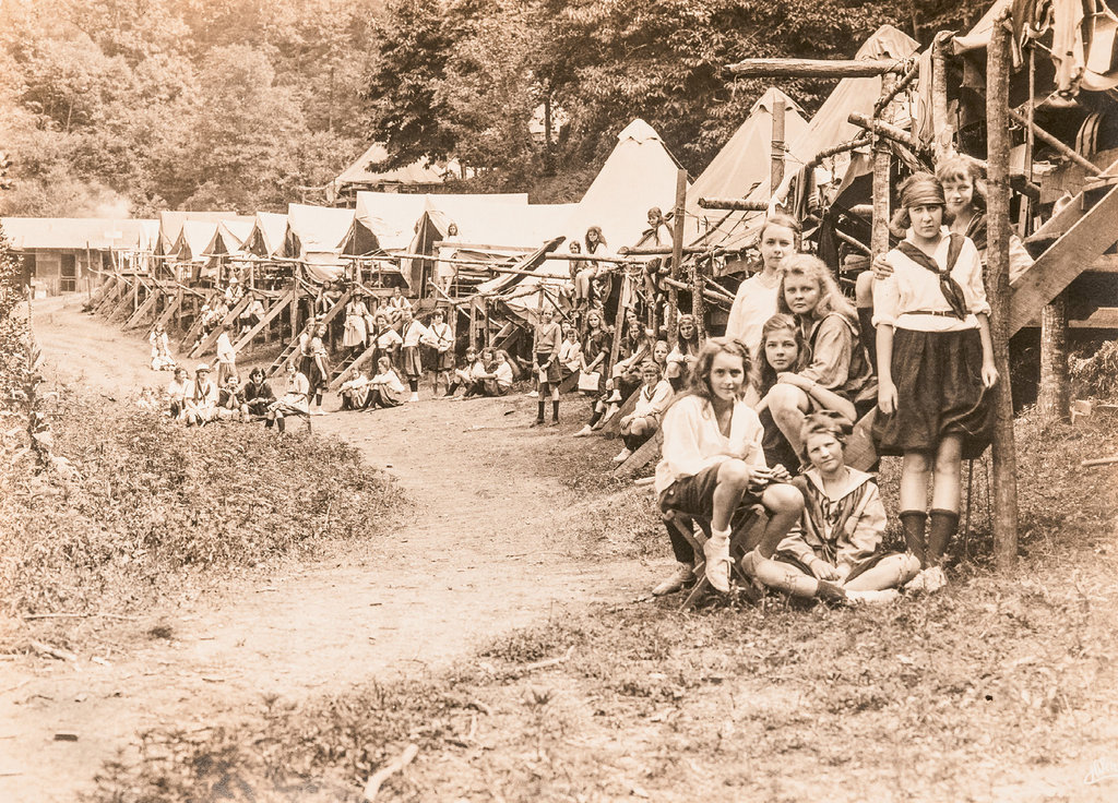 Good Times: Many of the offerings at Keystone Camp are similar to the ones enjoyed by campers like those shown here in the 1920s, while recent decades have brought a new assortment of more modern activities like zip-lining and yoga.