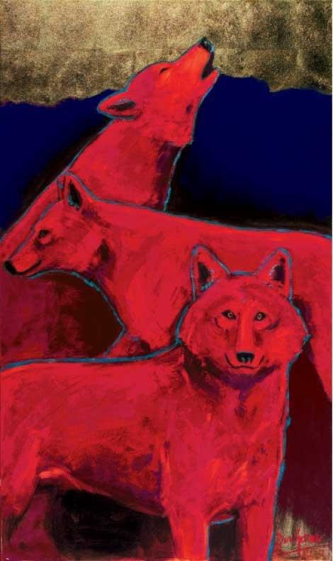 """Ann Dergara, Brevard, Three Red Wolves Acrylic & Gold Leaf, 30"""" x 50"""""""