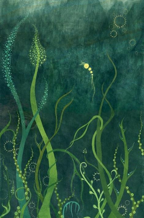 "Melissa Moss, Asheville, Adrift, acrylic on wood, 11"" x 18"""