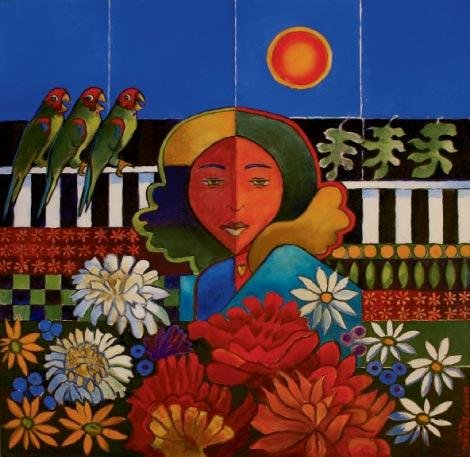 "Lenore De Pree, West Jefferson, Girl with Wild Parrots, Oil on canvas, 30"" x 30"