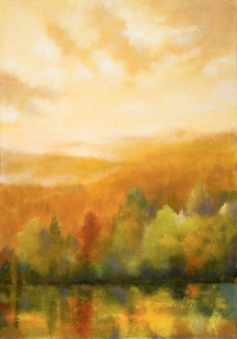 "Karen Weihs, Asheville & Cashiers, Gold Dusk oil on canvas, 35"" x 28"""