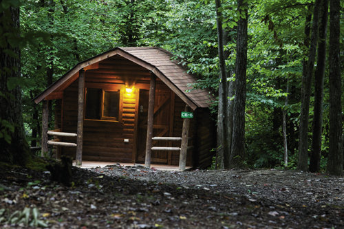 A rustic cabin at Adventures on the Gorge
