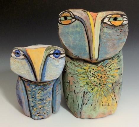 "Blue Fire Macmahon, Asheville, Owl Couple standing in beauty, clay, 4¼"" & 6¼"""