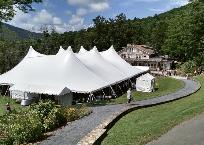 The auction tent in the center of campus was a gathering place throughout the weekend.