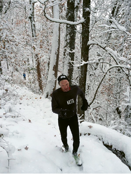 Shut-in Ridge Trail Run, WNC: Last year, this 17.8-mile trail run from the French Broad River to Mt. Pisgah saw the worst weather in the race's history, with snow and wind gusts up to 40 mph. Harlan finished second.