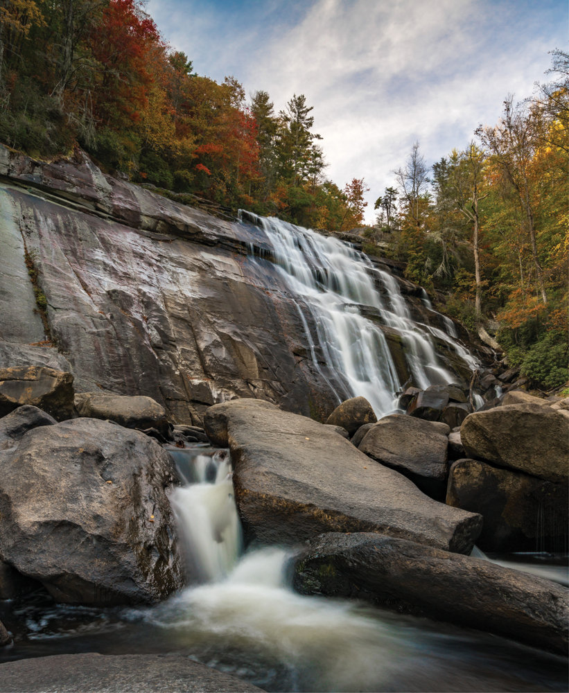 Cool Cascade: The 80-foot Rainbow Falls is among the many waterfalls located in the Jocassee Gorges.