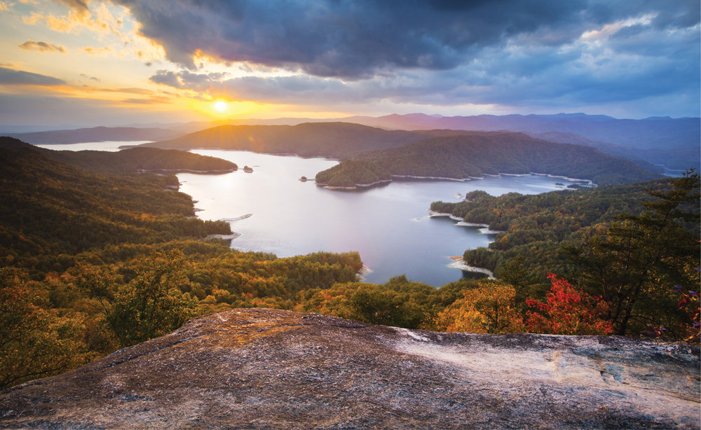 Time for Reflection: From Jumping Off Rock, peer out over Lake Jocassee and the Blue Ridge Mountains.