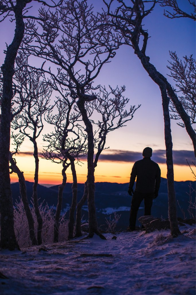 Beech Mountain may offer snow versus sand, but at 5,500 feet, the sunset views are just as stunning here as they are at the coast.